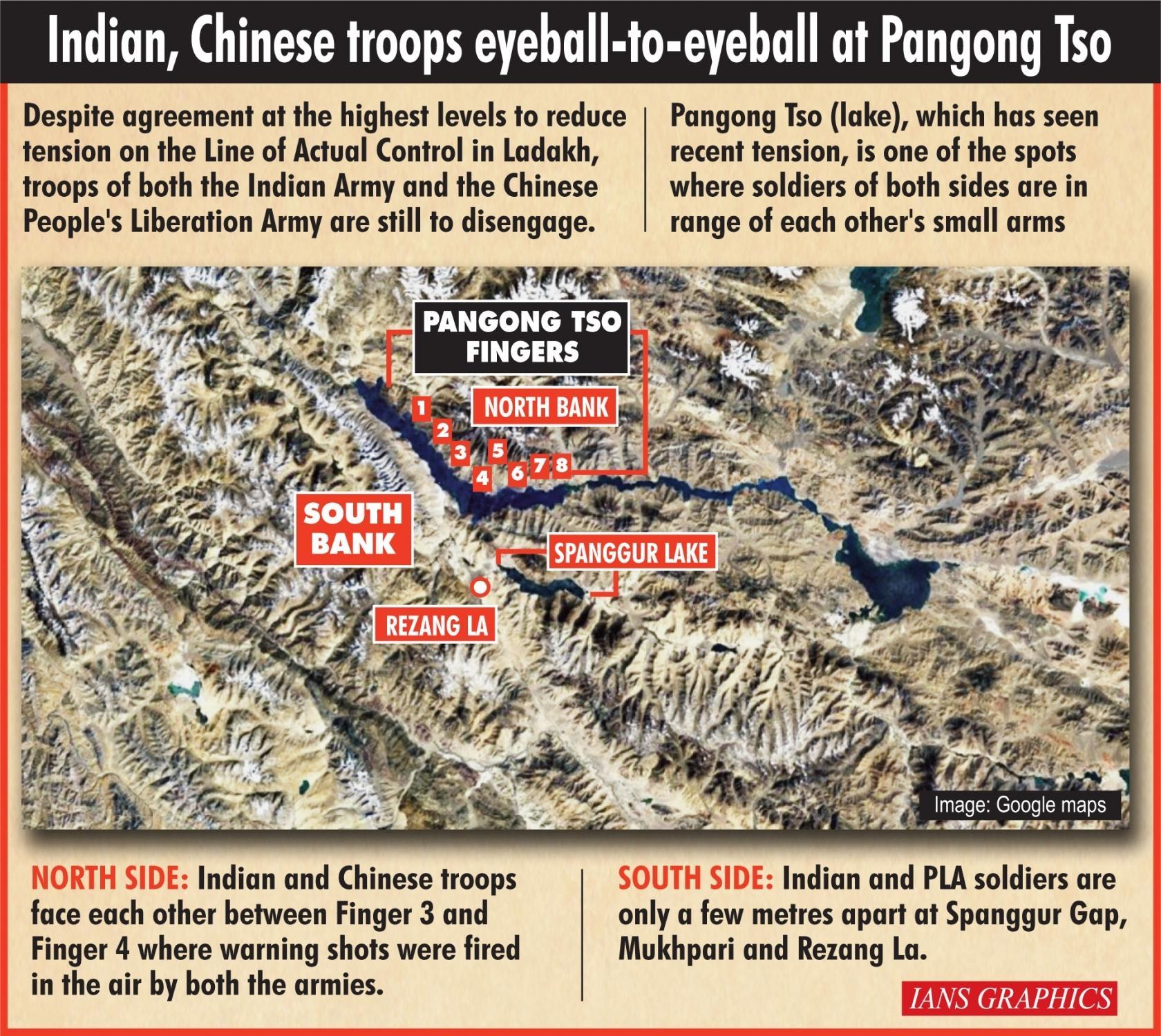 Indian, Chinese troops in rifle range at 4 places at Pangong Lake